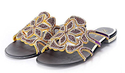 SYYAN Women's Rome Leather Rhinestones Open Toe Pure Handmade Flat Bottom Sandals 42 79Yi7kG