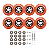 Rollerex Inline Skate/Rollerblade Wheels VXT500 80mm (8-Pack or 2-Pack or 2 Wheels w/Bearings, Spacers and Washers) (80mm Sunrise Orange (8 Wheels w/Bearings, spacers and washers))