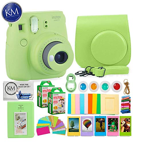 Fujifilm instax Mini 9 Instant Camera Lime Green + 20 Instant Film Pack x 2 + Instax Accessories Bundle