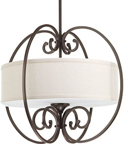 Progress Lighting P5335-20 Transitional Three Light Pendant from Overbrook Collection Dark Finish, Antique Bronze