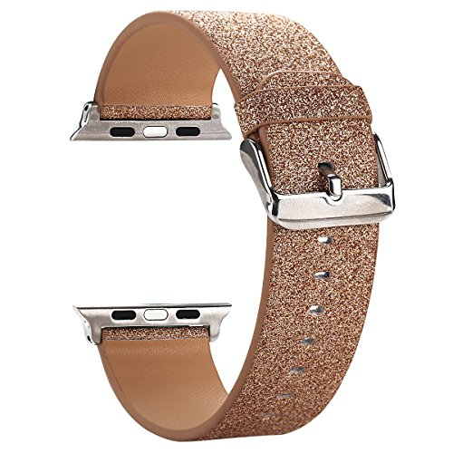 Moonooda Replacement for iWatch Band, Glitter 42mm 44mm Women Watch Strap Sparkling Compatible with Apple Watch Series 4 Series 3 Series 2 Series 1 Sport and Edition, Rose Gold