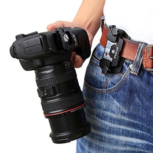Fiaya DSLR Camera Holster Belt Quick Strap Buckle Hanger Safety Camera Hanger Belt Clip Holster Holder for DSLR Digital SLR Canon EOS ()