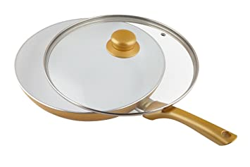 Ceramicore 24 cm Non-Stick Ceramic Induction Compatible Sauté Pan in Gold with Lid
