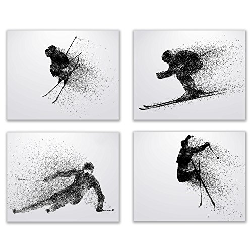 (Summit Designs Skiing Wall Art Prints - Silhouette – Set of 4 (8x10) Ski Poster Photos - Bedroom - Man Cave)