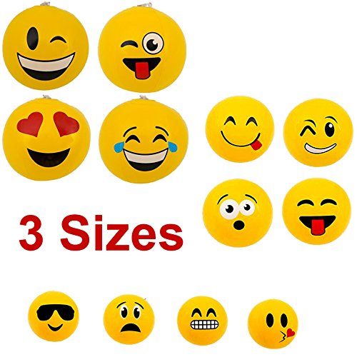 Nest Egg Sales 12 Pk Emoji Beach Balls Inflatable | Pool Toys Mixed Assortment - Best Water Toys for Kids | Fun Party Favors | 3 Different Sizes