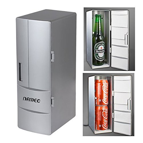 Price comparison product image NAMEO Mini USB Fridge Beverage Drink Cans Cooler Warmer Refrigerator with 2 Switch Modes (Plug & Play)