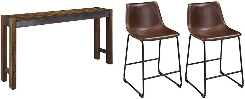 Ashley Furniture Signature Design - Torjin Counter Height Dining Room Table - Two-Tone Brown & Centiar Counter Height Bar Stool, Brown