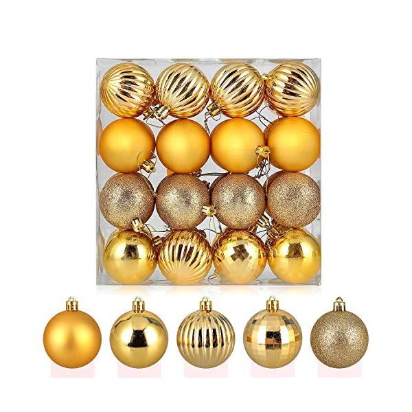 himaly 32 Pezzi Tradizionale Rosso e Oro Accessori per la Decorazione Palle di Natale Anti Goccia con Imbracatura,Adatto per Natale, Matrimonio, Fidanzamento, Anniversario, Festa 1 spesavip
