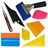 Ehdis Professional 8 in 1 Car Window Film Tools Installation Car Tool Kit for Auto Window Solar Film Trim with Replaceable Handled Rubber Squeegee, Felt Edge Squeegee, Scraper 1 set Car Home Tint