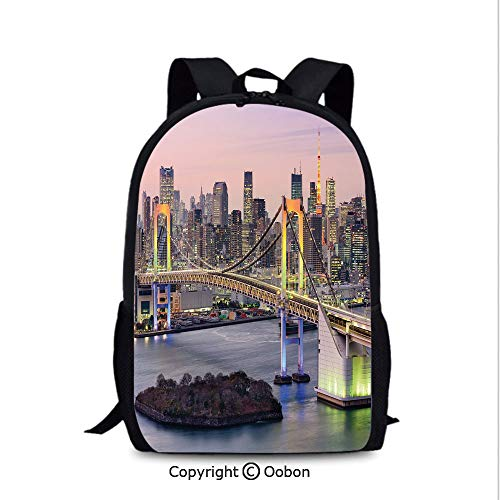 Leisure Theft Prevention Backpack, Tokyo Japanese Capital City Rainbow Bridge Skyscrapers Ultra Modern, School Bag :Suitable for Men and Women, School, Travel, Daily use, ()