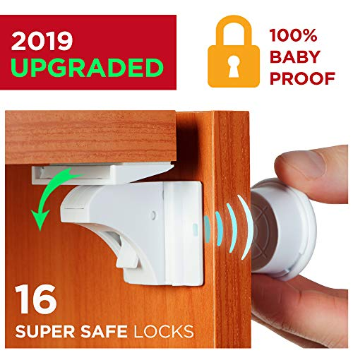 Lock Protection - Baby Proofing Magnetic Locks - Baby Proof Cabinet Kitchen Bathroom Drawers Locks for Child Safety - Easy to Install Childproof Cabinet Locks for Infants or Kids 16 Latches and 4 Keys by BabyTrust