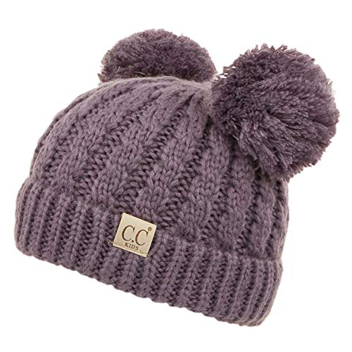 C.C Exclusives Kids Ages 2-7 Warm Chunky Thick Stretchy Knit Beanie with Double Pom ()