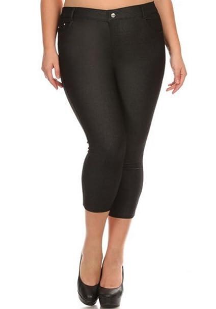 c9022b51c17 Womens Plus Size Capri Length 5 Pocket Cropped Jeggings Leggings Skinny  (3X