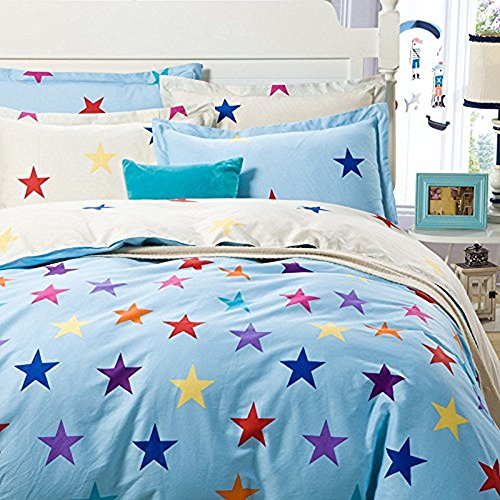 CHARM HOME Star Bedding Full Size for Girls Purple Blue Y...