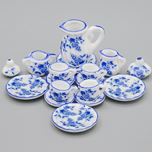 (Odoria 1:12 Miniature 15PCS Blue Porcelain Tea Cup Set Blue Chintz Dollhouse Kitchen Accessories )