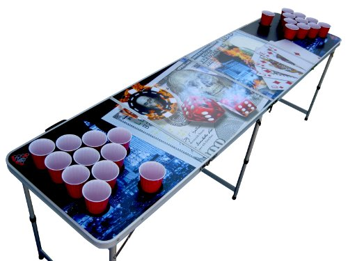 Vegas Poker Portable Beer Pong Table with Holes by The Pong Squad