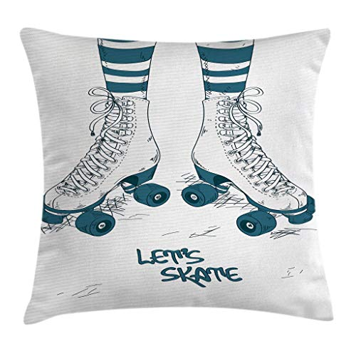 (Ambesonne Retro Throw Pillow Cushion Cover, Girl's Legs in Stripes Stockings and Retro Roller Skates Fun Teen Illustration Print, Decorative Square Accent Pillow Case, 18
