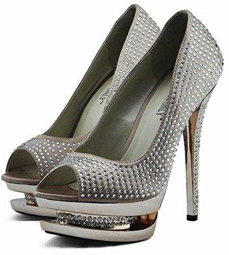 Trend Star Women Pumps Womens High Heels Platform Lace Party Pfennig new  pumps Stil 1 -