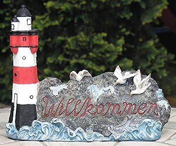Maritime Gartendeko leuchtturm willkommenschild maritime gartendeko haustür deko