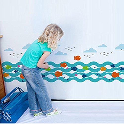 ZNXZZ Ocean Fish Wall Stickers Blue Stream Vinyl DIY Baseboard Sticker for Children Bedroom Decoration Duvar Decal