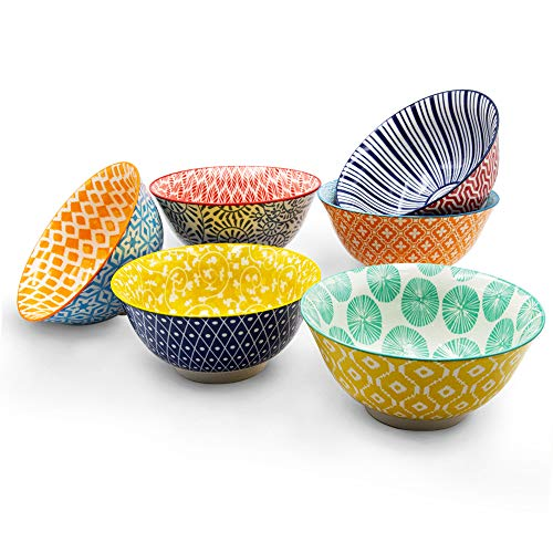 KitchenTour Porcelain Bowls 6 Packs - Large Ceramic Bowls for Cereal, Soup, Salad, Pasta, Rice - Assorted Colorful Design