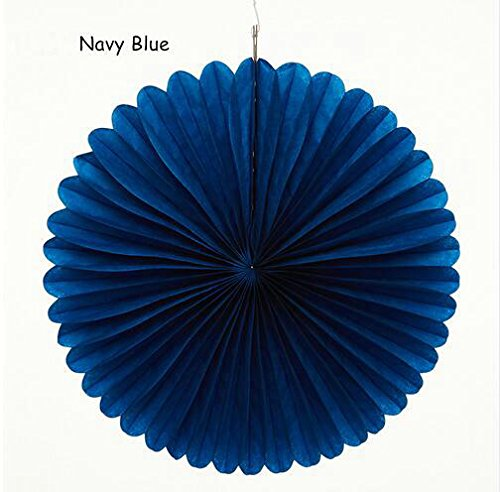 Sorive 5pcs 10 Tissue Paper Fan Party Hanging Fan Flower Wedding Birthday Showers Party Baby Shower Decorations (10 Inch, Navy Blue)