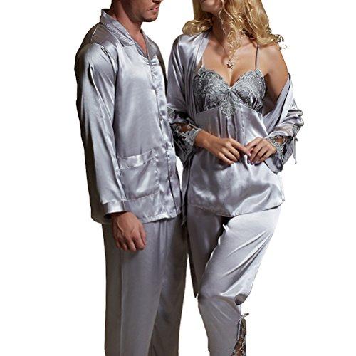 donna Nunubee Set Abbigliamento Taglia pigiama Notte Amybria Satin Setigia 40 Grigio L OwY1nqH