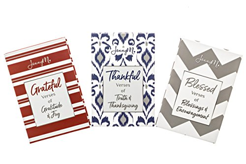 JennyM | Grateful, Thankful, Blessed - 3 Pack Boxed Bible Verses Inspirational Prayer Cards, Memory Verse of the Day Scripture Cards & Keepsake Box, Boxed Inspirational Blessing Cards, Christian - Verse Niv Bible