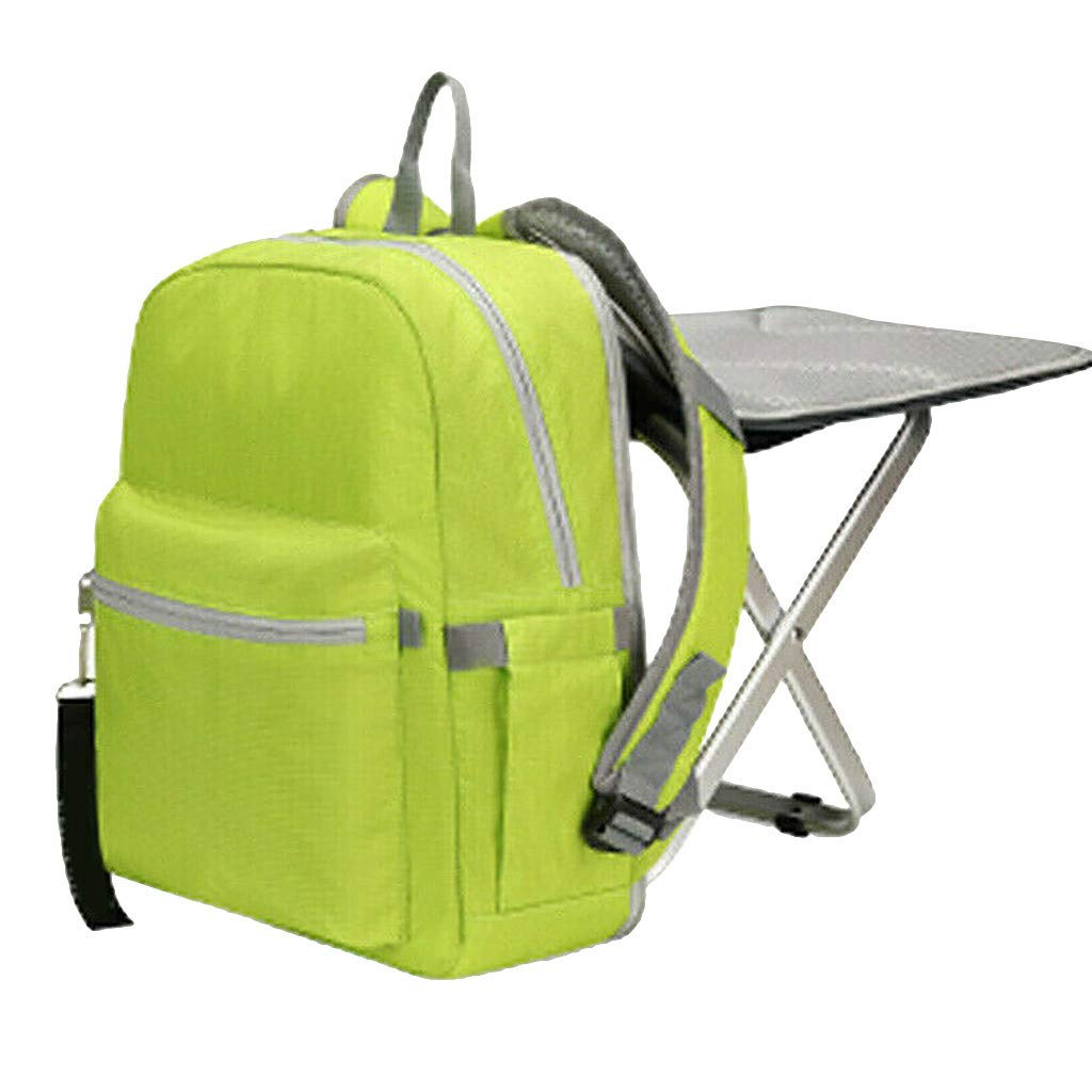 Jeeke Backpack Stool Combo Portable & Folding Camping Chair Stool Backpack with Padded Shoulder Straps Hiking Seat Table Bag Camping Gear for Fishing Travel Beach BBQ (Green)