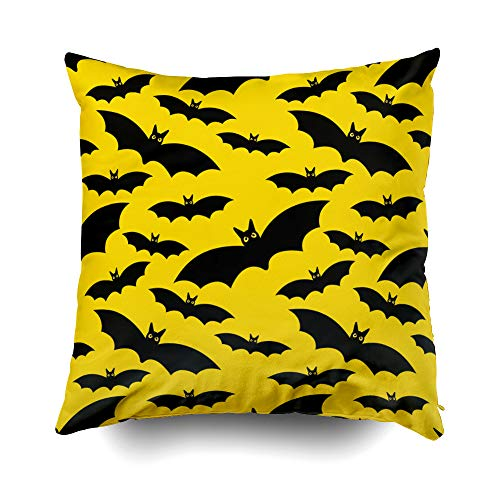 Musesh Halloween The Moon and Bats Halloween Illustration Cushions Case Throw Pillow Cover for Sofa Home Decorative Pillowslip Gift Ideas Household Pillowcase Zippered Pillow Covers 16X16Inch