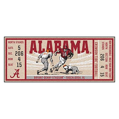 NCAA University of Alabama Crimson Tide Ticket Non-Skid Mat Area Rug (Alabama Runner)