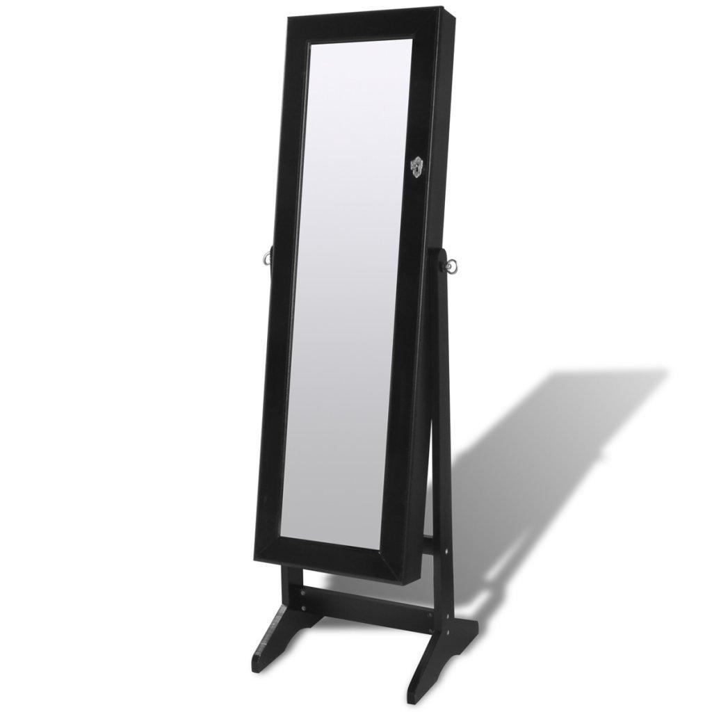 Festnight Armadietti Specchio Nero per Gioielli con Luce LED e Anta con Specchio