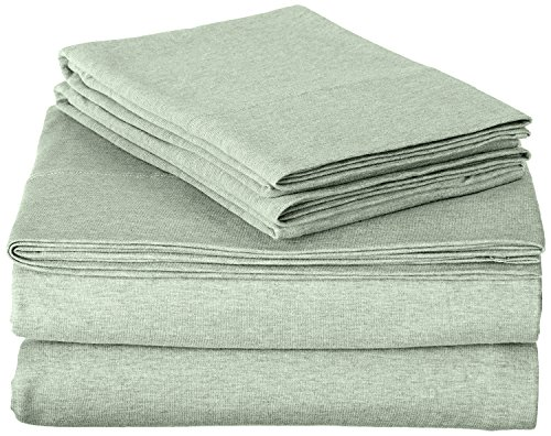 ROYAL LUXURY 100% Cotton Jersey Knit QUEEN Sheet Set, SAGE GREEN - Jersey Bed Sheets