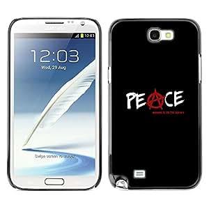 FECELL CITY // Duro Aluminio Pegatina PC Caso decorativo Funda Carcasa de Protección para Samsung Note 2 N7100 // Anarchy Rebel Black Text