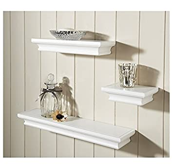 set of 3 floating shelves wall shelf home storage white