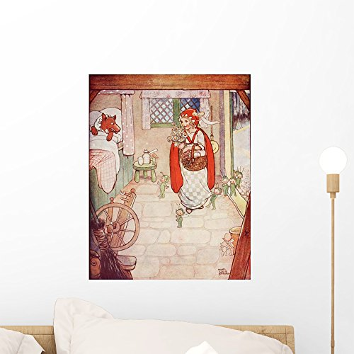 Wallmonkeys Little Red Riding Hood Meets The Wolf Wall Decal Peel and Stick Graphic WM231758 (18 in H x 14 in W)