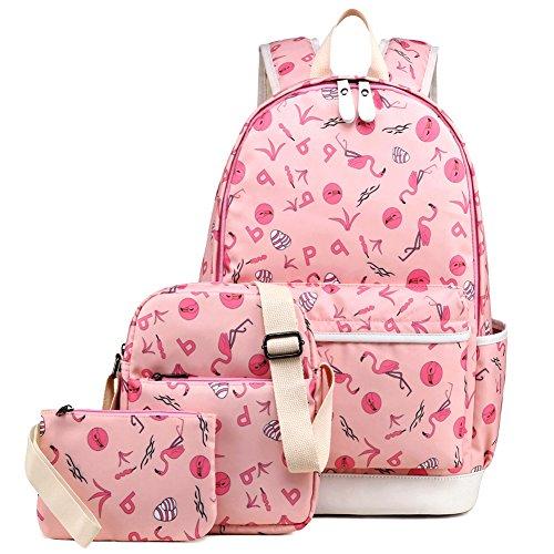 School Backpack for Girls, Kemy's Girls School Backpack and Lunch Bag Set 3 Pieces Cute Bookbag bag School Bag for Teen Girls Waterproof, Pink - 3 Piece Book Set