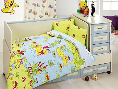 Happy Friends Baby Bedding Set, 100% Cotton - Yellow Ducks Swimming in The Lake - Set of 4 - Duvet Cover, Flat Sheet and Two Pillowcases for Baby, Toddler ()