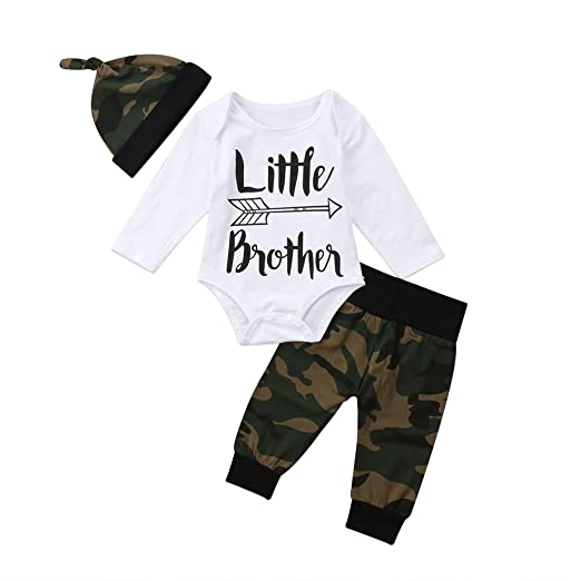 9e848a289a99 3Pcs Set Newborn Infant Baby Boy Little Brother Romper+Camouflage Pants  with Hat Outfit