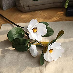 Icocol Artificial Fake Magnolia Floral Flowers Leaf Wedding Bouquet Party Home Decor Art (White) 9