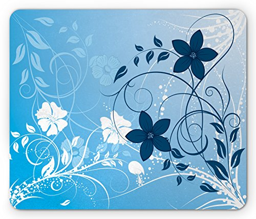 Floral Mouse Pad by Lunarable, Essence Flower Petals Background with Scrolls Eco Botany Fresh Tones Picture, Standard Size Rectangle Non-Slip Rubber Mousepad, Navy Sky (Tone Scroll)