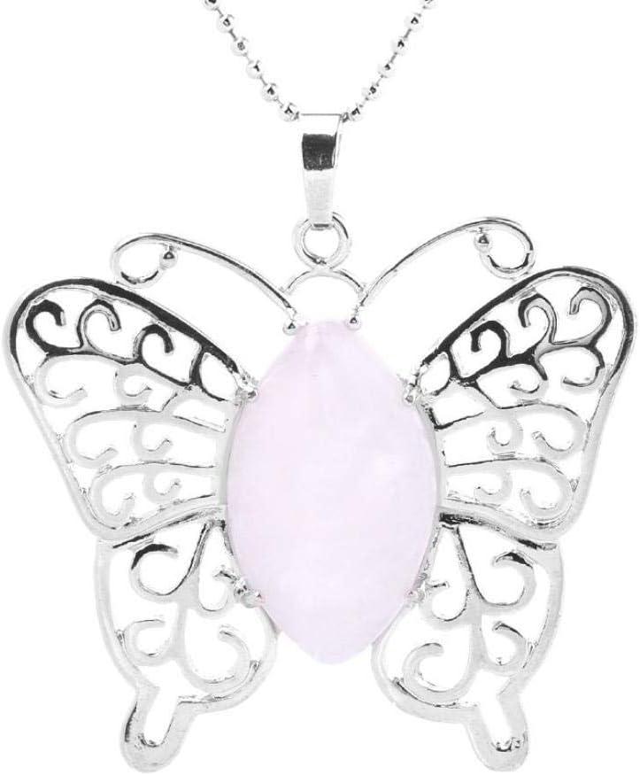 TFOOD Collarcolgante Piedra Preciosa,Moda Color Plata Forma De Mariposa con Colgantes De Cuarzo Rosa Collares De Cadena De Plata para Mujeres Regalos De Joyería