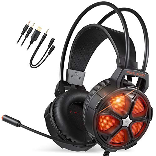 EasySMX PC Gaming Headset, PS4 USB Headset with Mic, Soft Earmuffs Gaming Headphones for PC/PS4, with LED Lights, Noise Cancelling Mic for Laptop, Mac, PS3 (Orange)