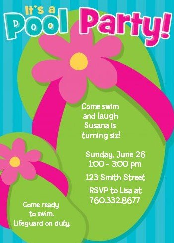 amazon com flip flops girl pool party birthday party invitations