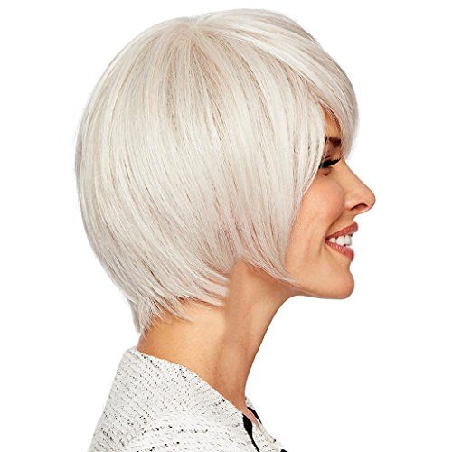 Homyl Natural Human Hair Short Wigs, Silver Fluffy Bangs Hairstyle Hair Wigs, Cosplay Party Costume Wedding Heat Safe 11 inch by Homyl