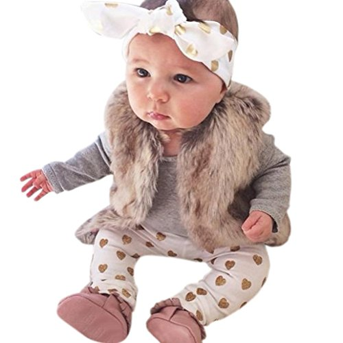 AMA(TM) 3PCS Newborn Baby Boys Girls Romper+ Pants +Headband Outfits Clothes