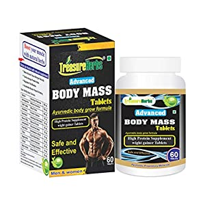 TreasureHerbs Body Mass Tablets for Men and Women (60 Tablets) Weight Gainers/Mass Gainers