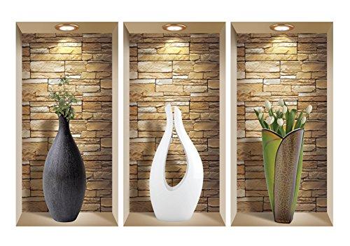 3D Wall Art, Niche Sticker Set, 3D Wall Decor, Wall Decals Living Room, Wall Decals for Bedroom, Vinyl Wall Decals, Vinyl Stickers, Wall Stickers (Wall decals vase)