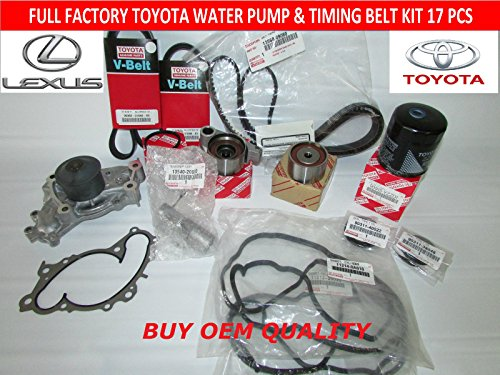 [Full 17 Piece Toyota Timing Belt Kit with OEM Aisin Water Pump for 1MZFE & 3MZFE Engines] (Oem Full Kit)
