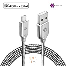 ZECEEN Metal USB Lightning Cable – Fast Charging & Data Transfer Cord (3.3 ft) – Almost Unbreakable – Bending & Weather Resistant – Compatible with iPhone X/8/7/6s/6/5s/5/SE, iPad Pro/Air/Mini
